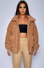 Oversized Teddy Coat - Camel