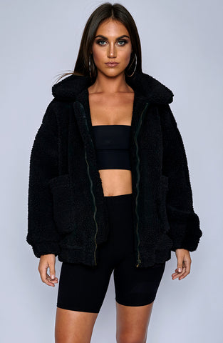 Oversized Teddy Coat - Black