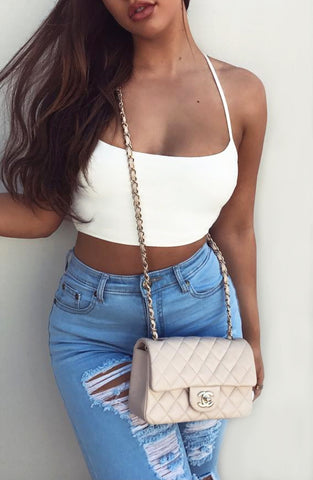 Everyday Sinner Crop - White