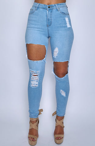 Honey Crush Jeans High Waisted - Light Blue