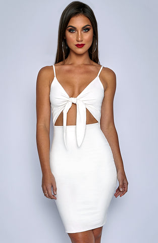 Isla Tie Dress - White