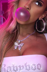 Farrah Butterfly Necklace - Silver