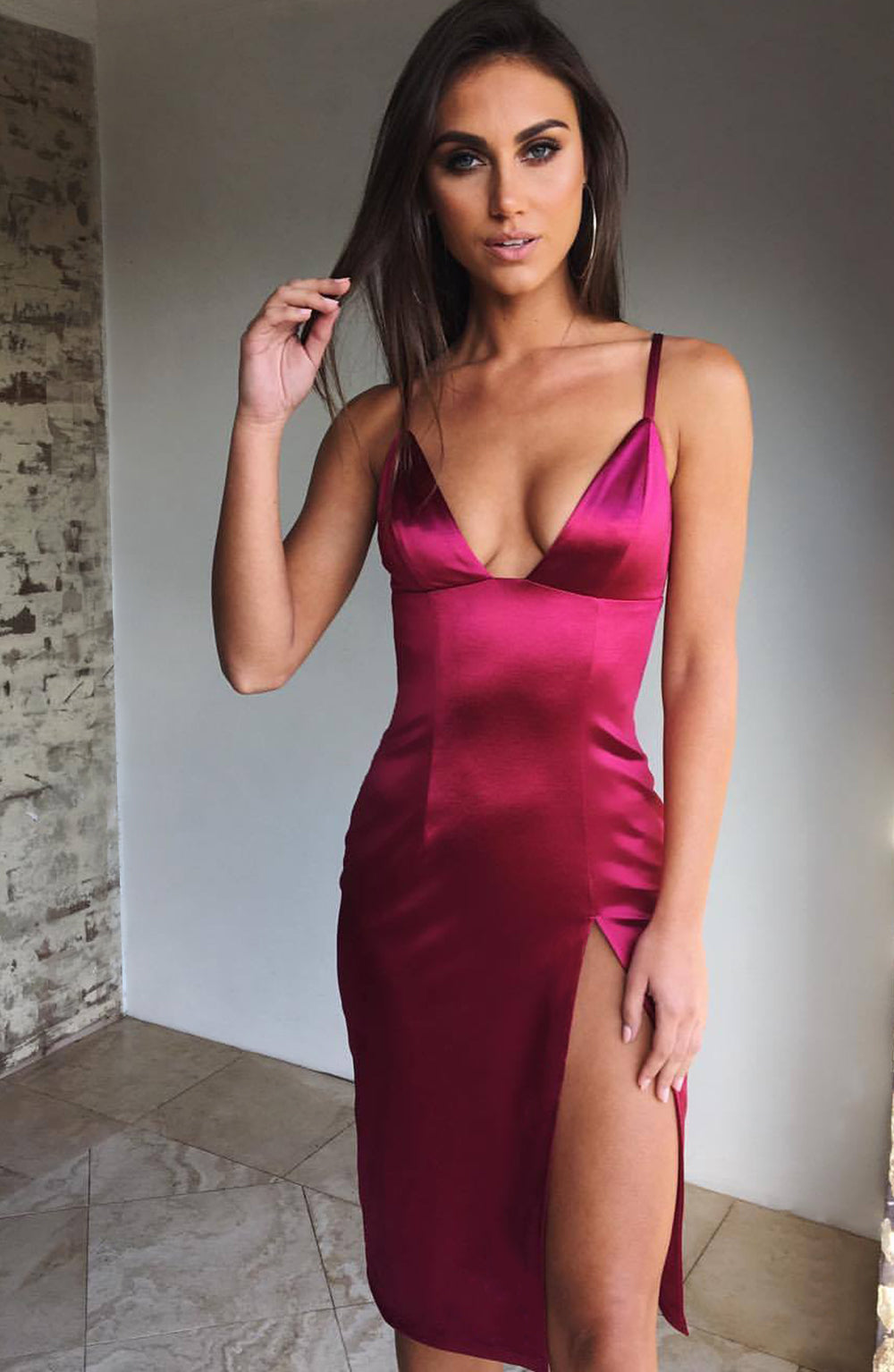 Slit To It Dress - Wine