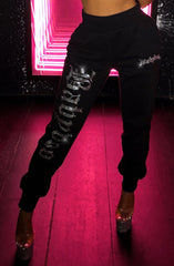Yasmin Diamante Trackpants - Black