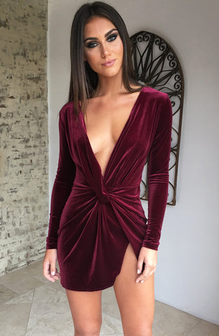 Alessandra Dress - Maroon