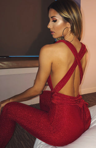 Luxe Life Jumpsuit - Red Sparkle