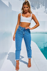 Ali Boyfriend Jeans - Medium Blue
