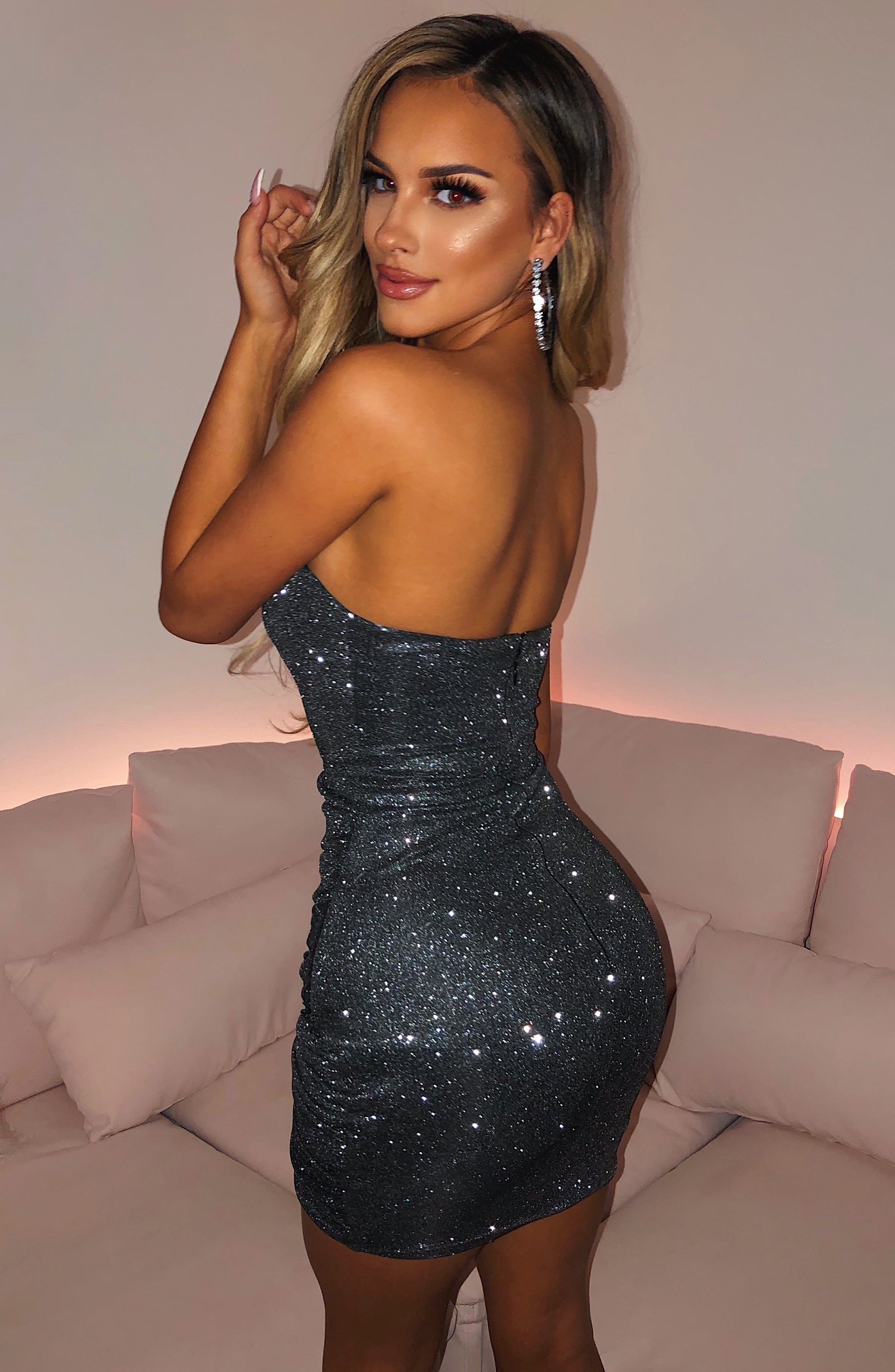 Arianna Mini Dress - Black Sparkle