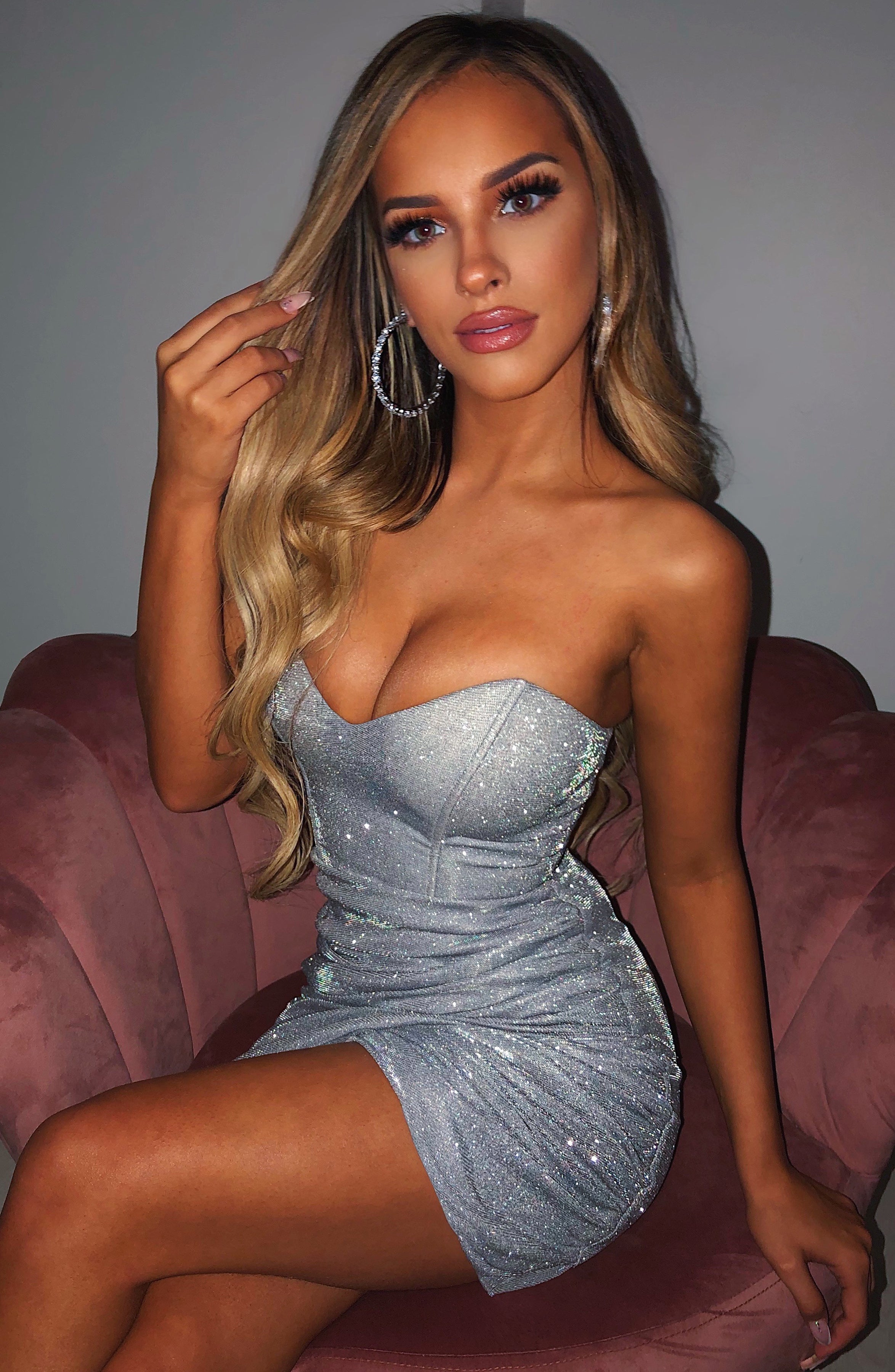 Arianna Mini Dress - Silver Sparkle