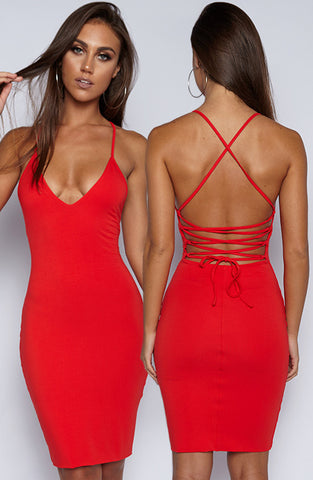 With Bae Dress - Red