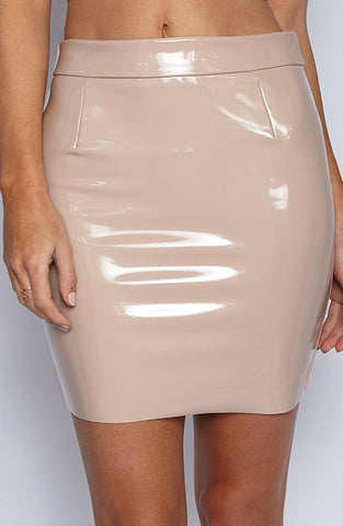 Luxe Latex Skirt - Mocha