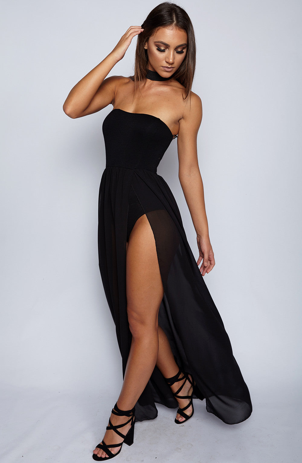 Zella Maxi Bodysuit Dress - Black