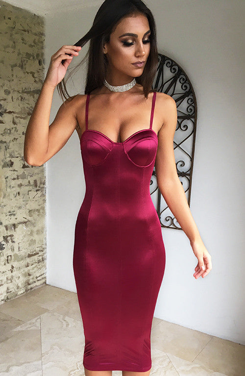 Kashani Midi Dress - Wine