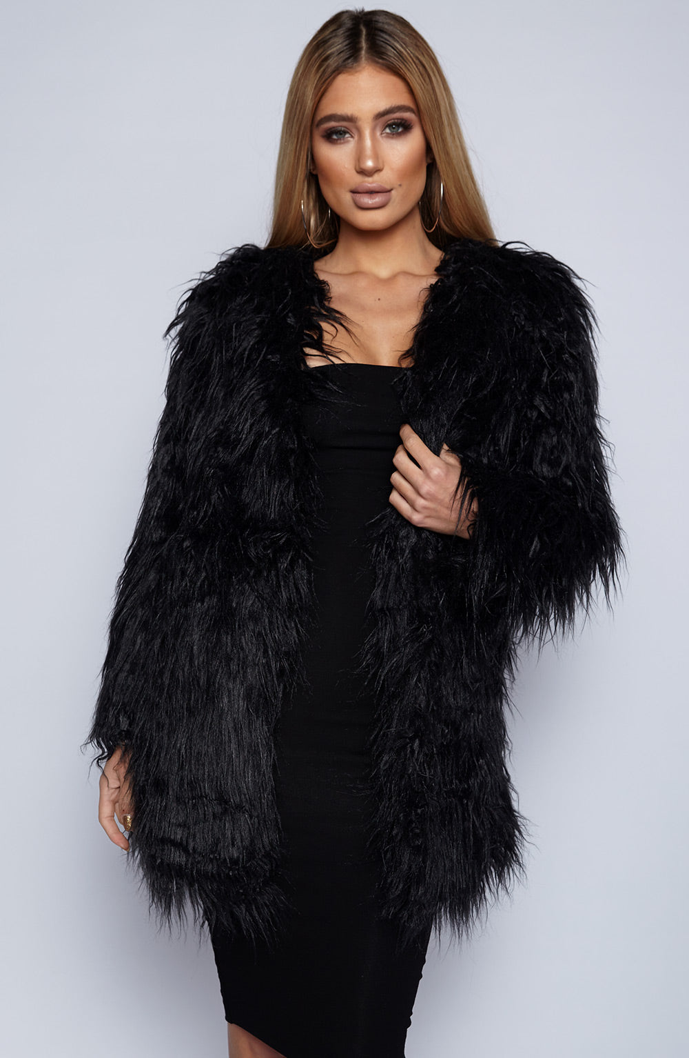 Rhi Rhi Faux Fur Coat - Black