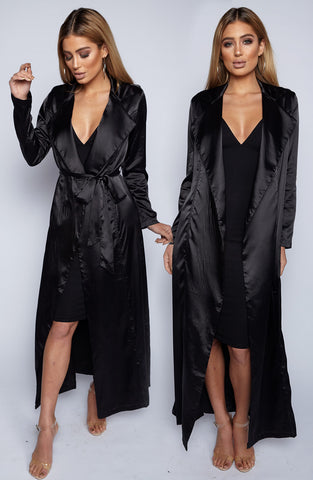 Kendra Silk Maxi Coat - Black