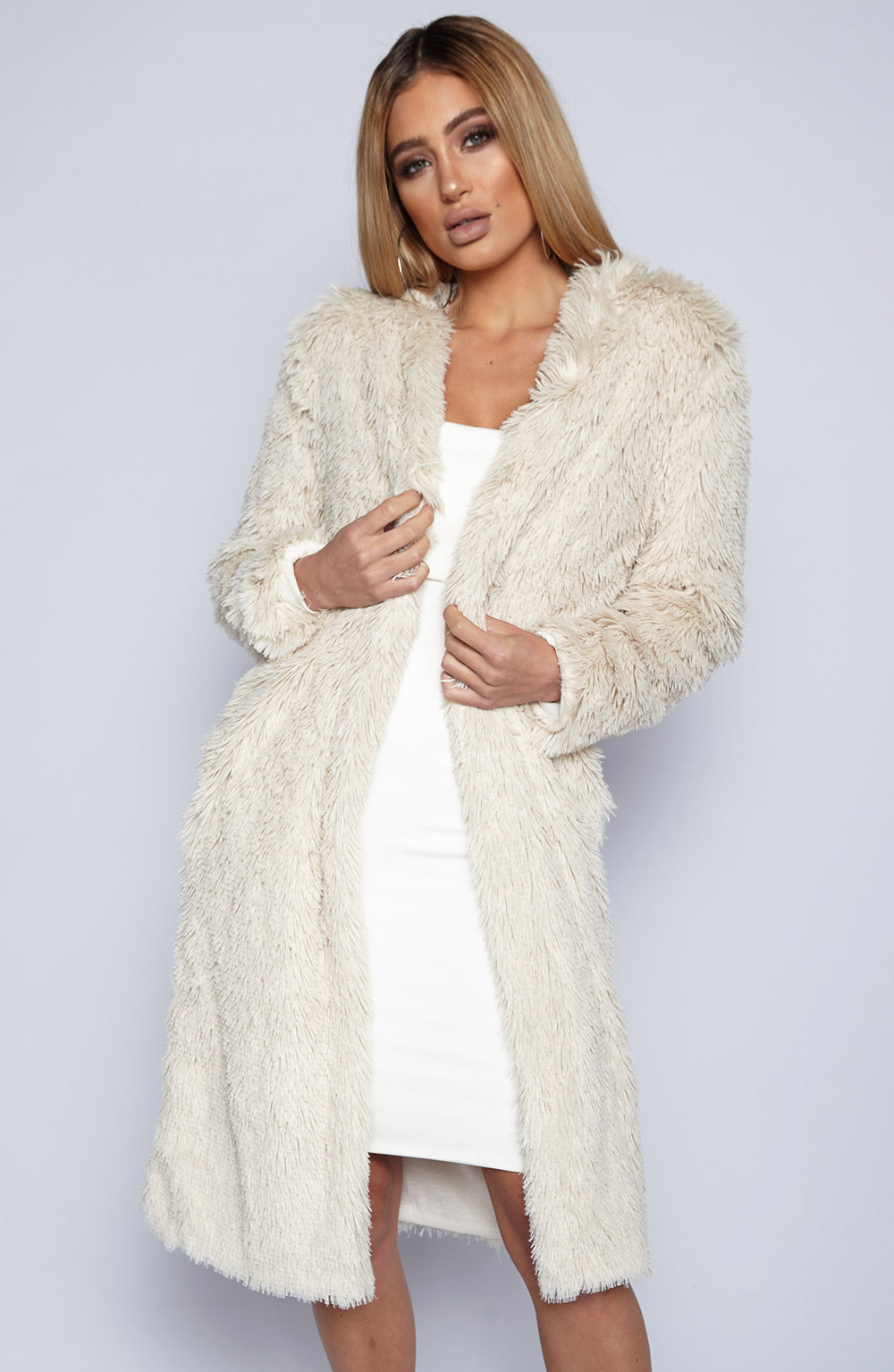 Fux Fur Coat - Beige
