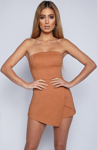 Arrow Heart Playsuit - Brown