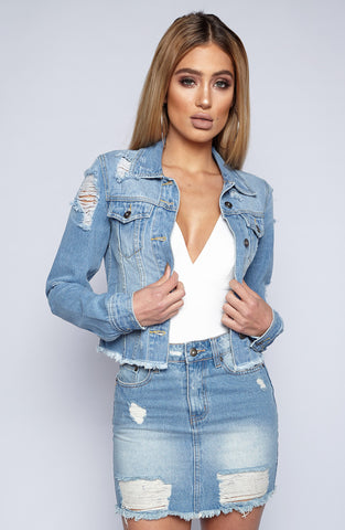 Distressed to Impress Jacket - Denim