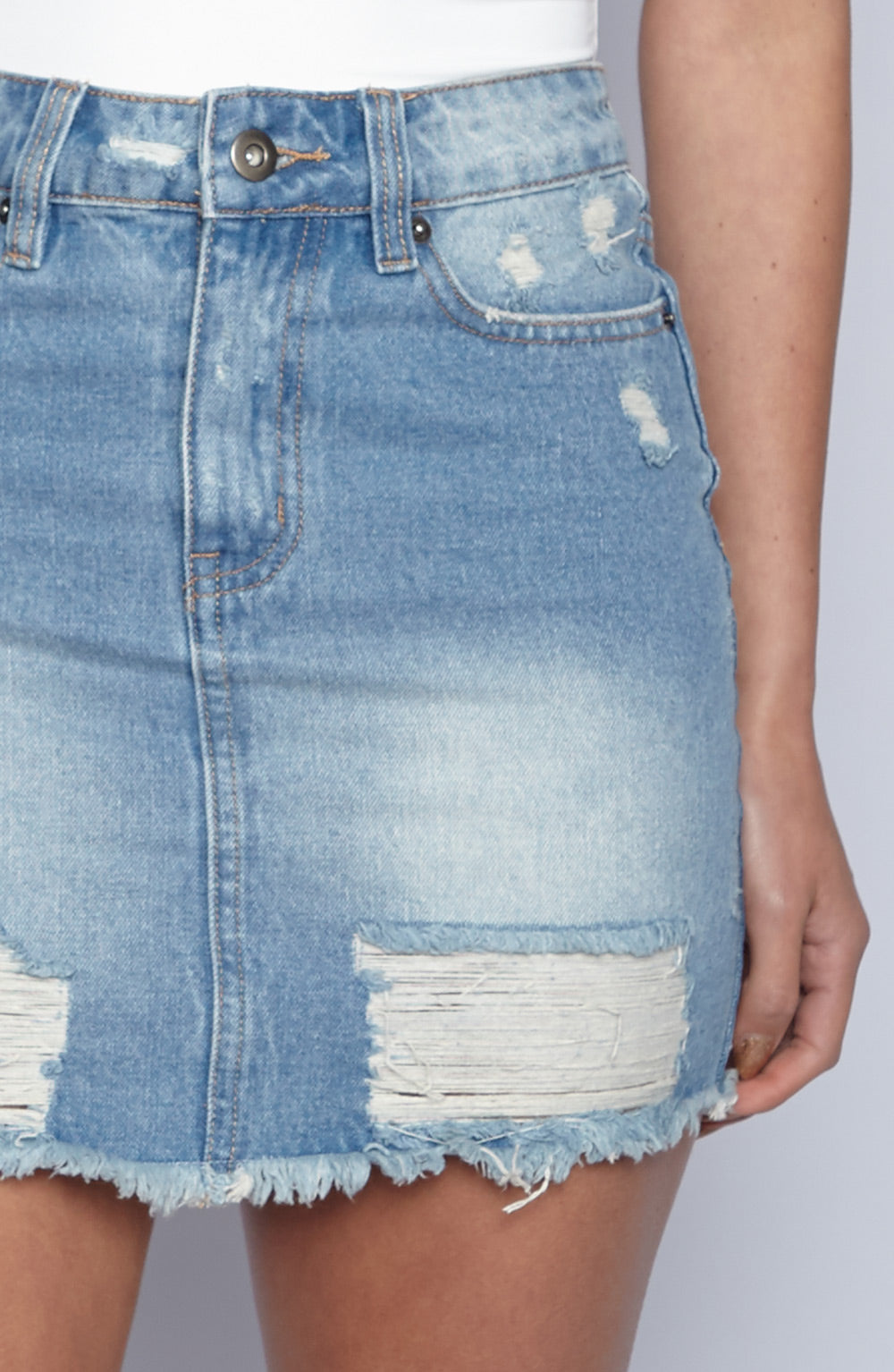 Gigi Heart Skirt - Blue Denim