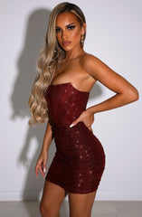 Cindy Mini Dress - Red Glitter