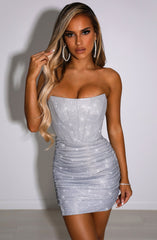 Cindy Mini Dress - Silver Sparkle