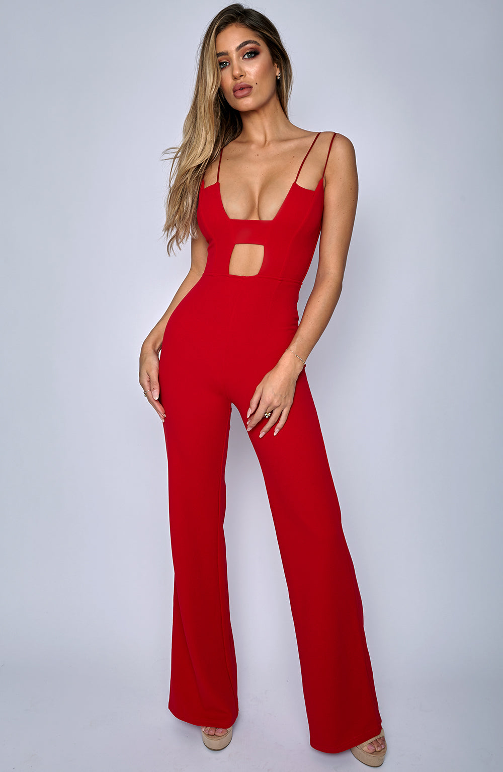 Bow Down Jumpsuit - Red