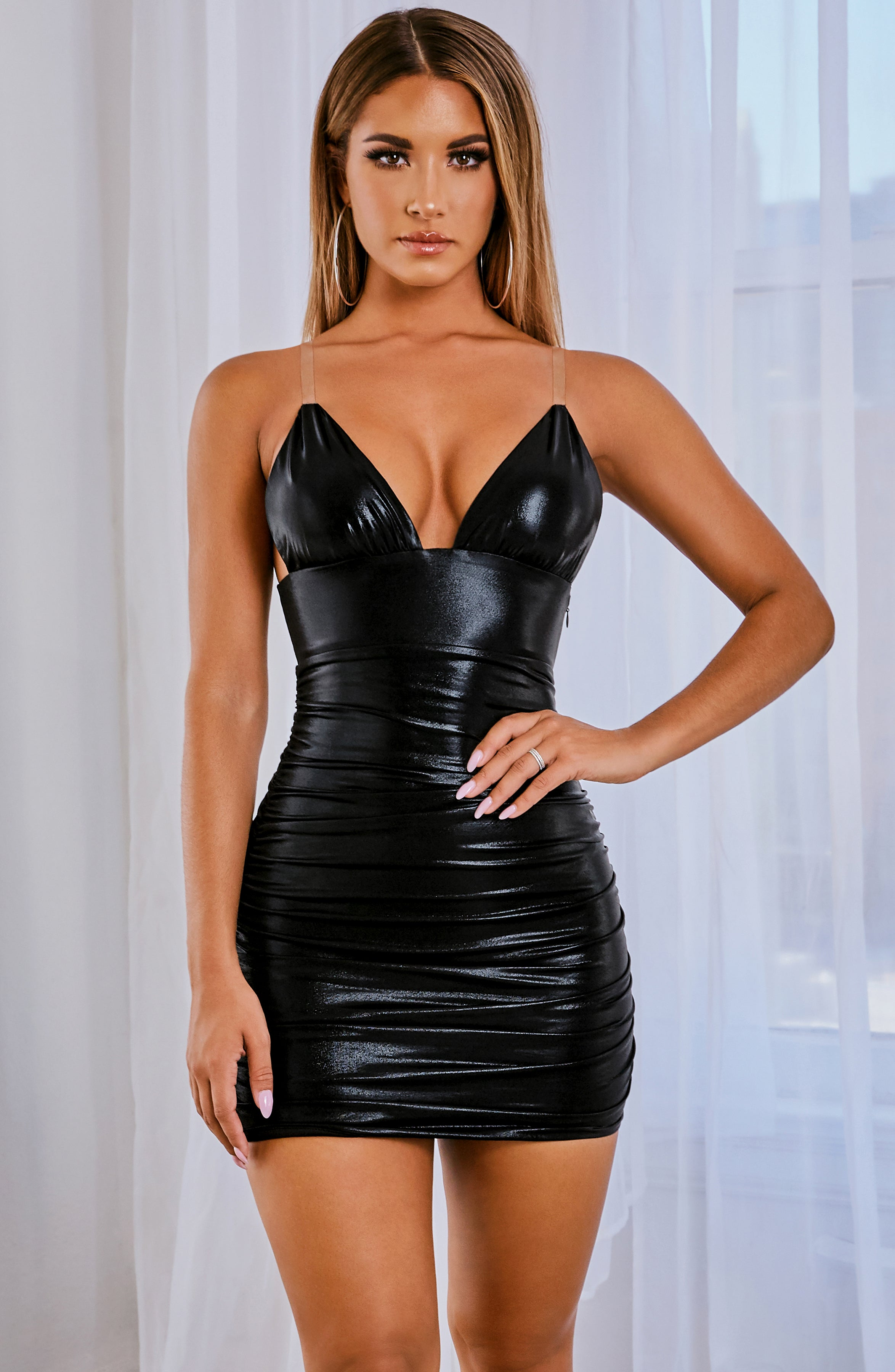 Nikita Mini Dress - Black Shine