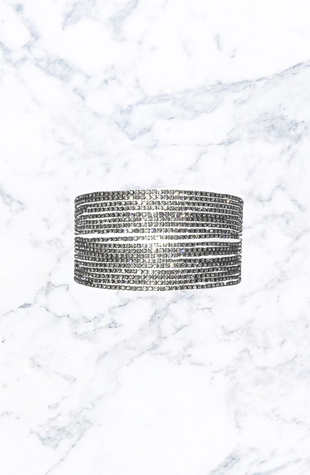 Crossover Multi-Row Choker-Silver