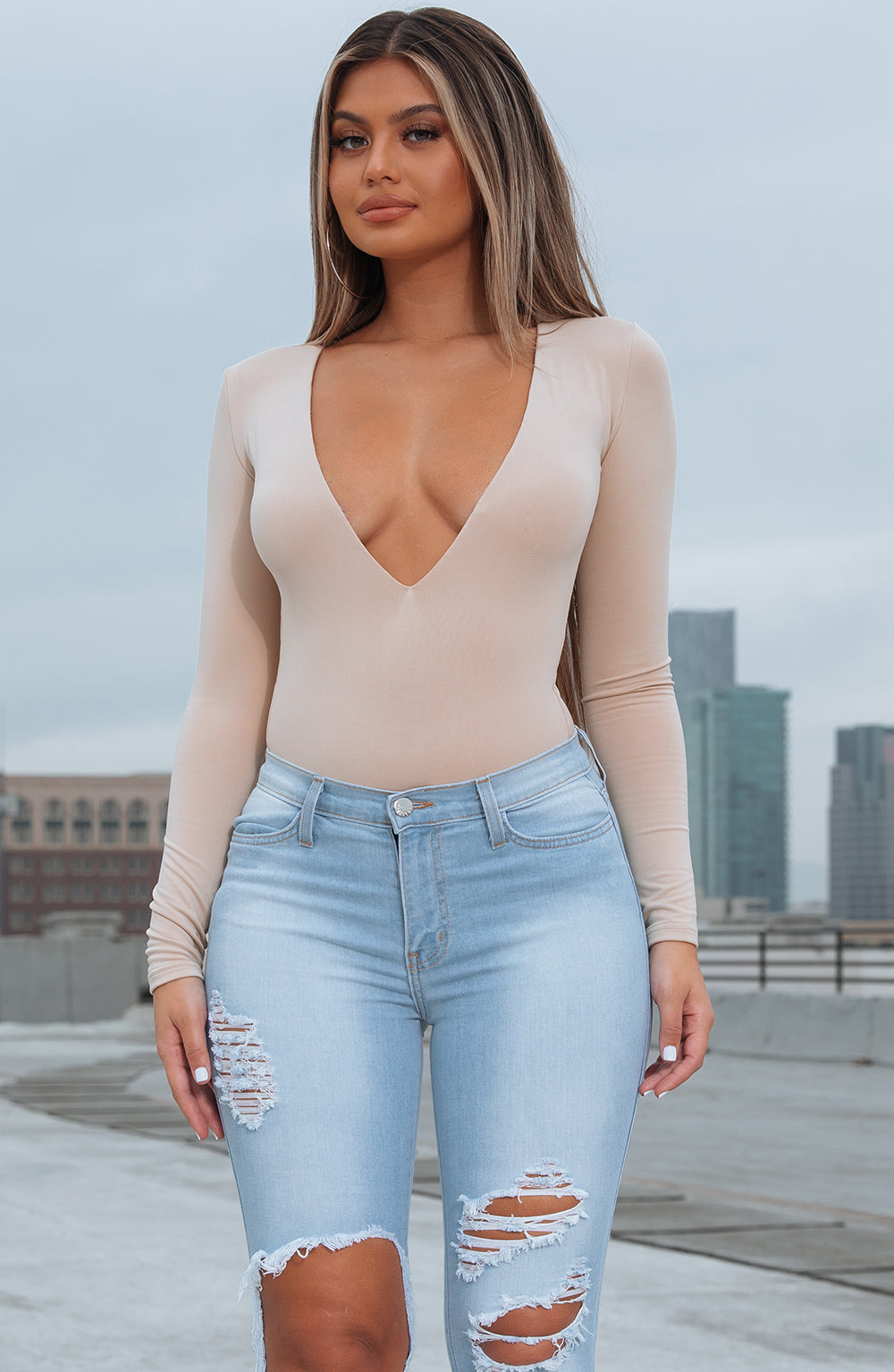 CORA BODYSUIT - TAN