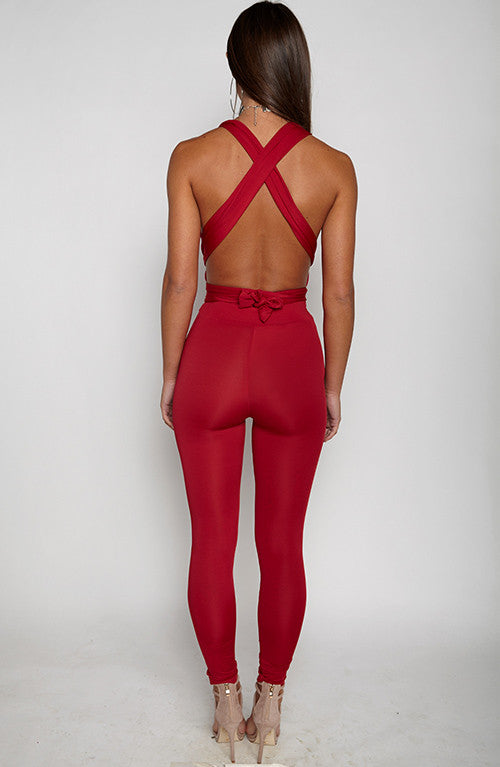 Luxe Life Jumpsuit - Maroon