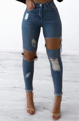 Honey Crush Jeans High Waisted  -  Blue Denim