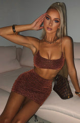 Kylie Mini Skirt - Bronze Sparkle