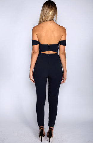 Cuts On Point Jumpsuit - Navy