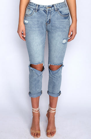 Side Bish Jeans - Denim