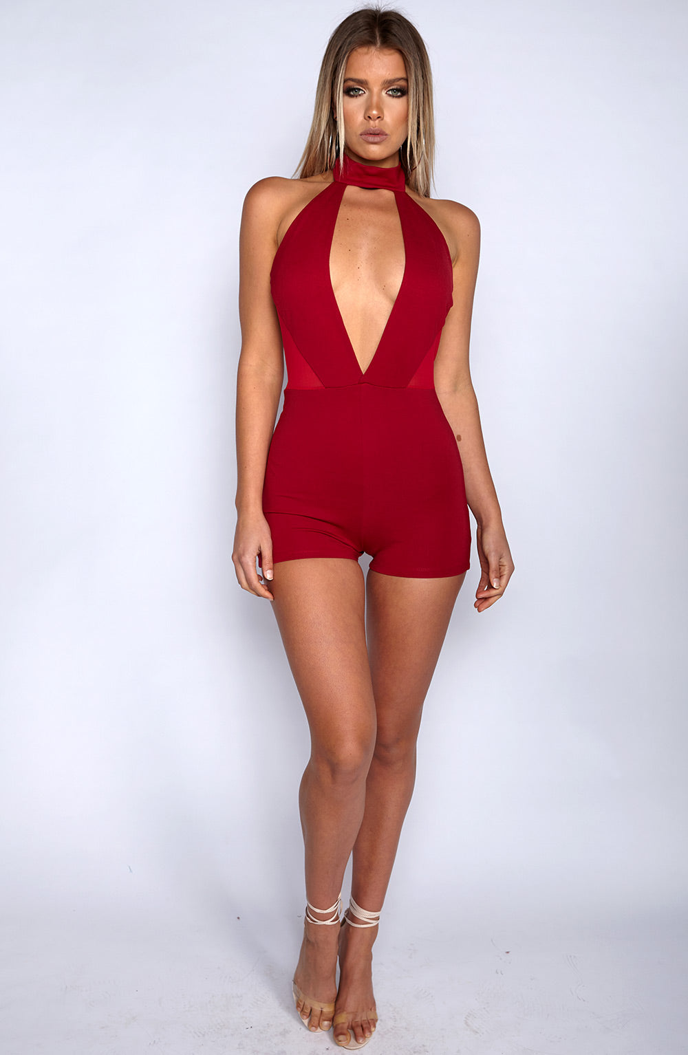 High Bombshell Playsuit - Red