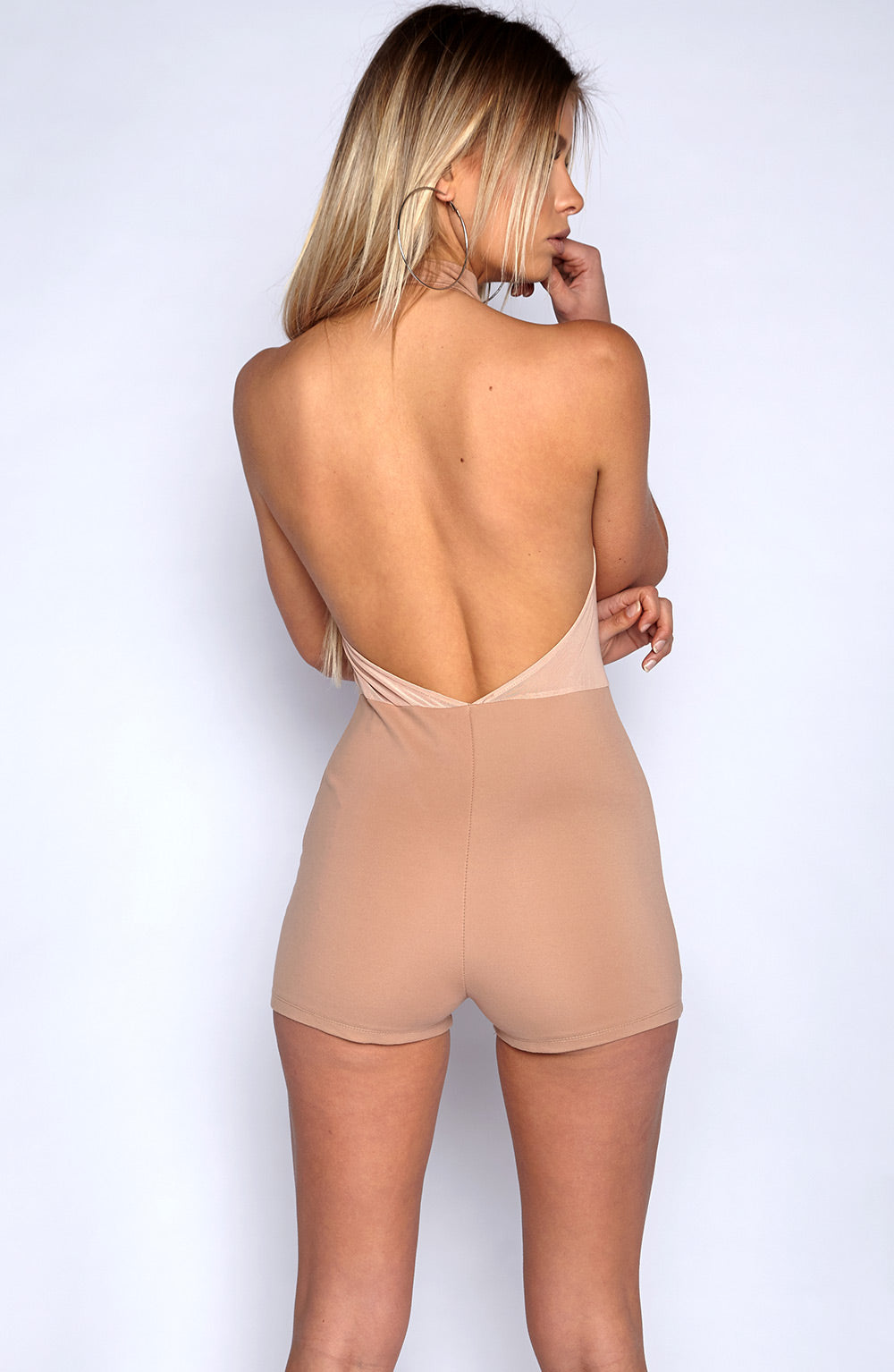 High Bombshell Playsuit - Tan