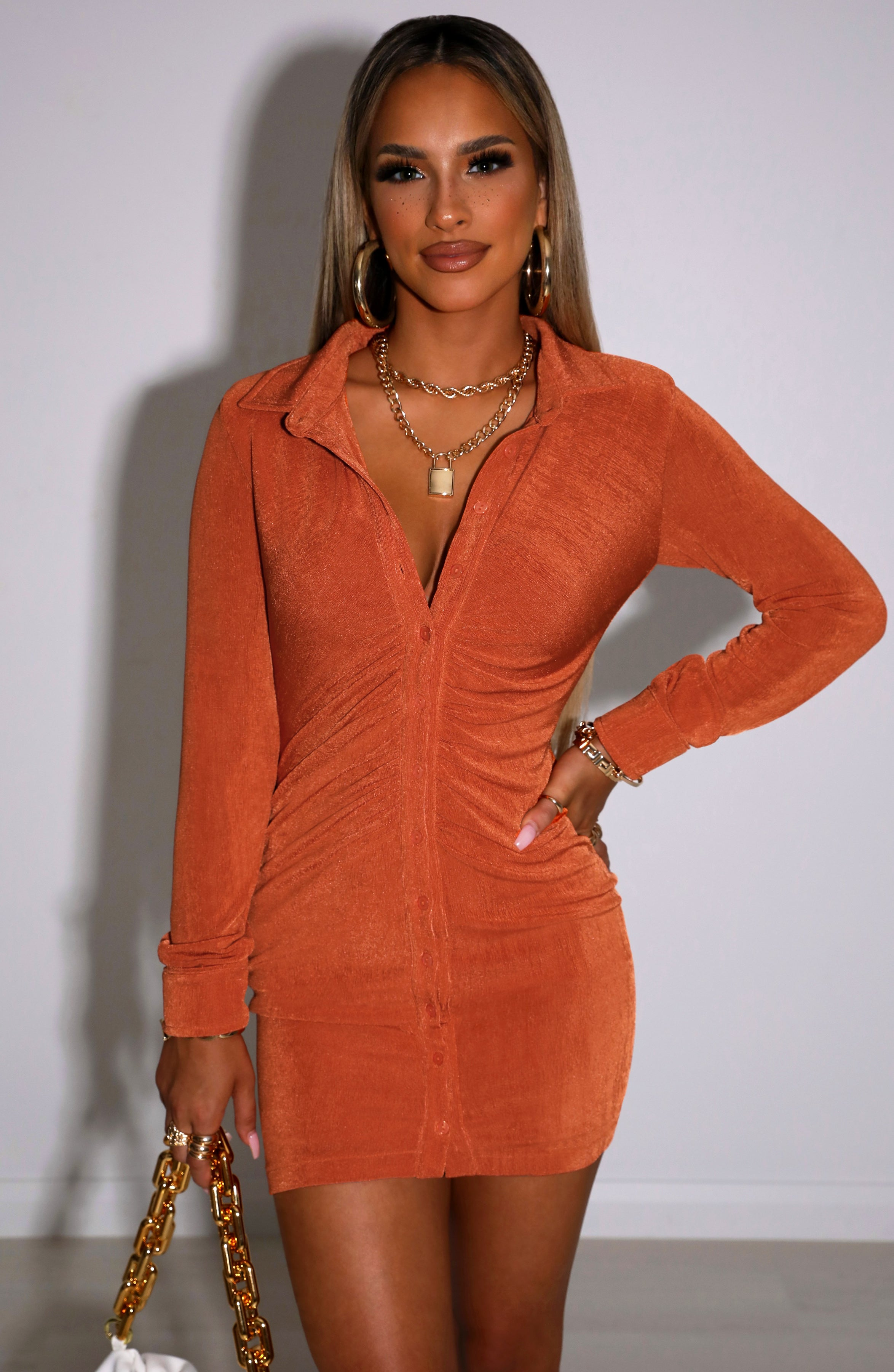 Kyesha Mini Dress - Apricot