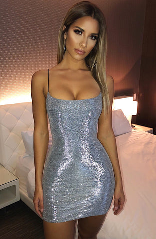 Mikayla Mini Dress - Silver Glitter