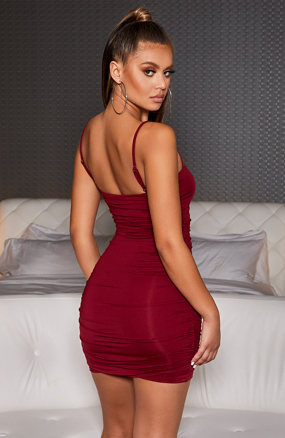 Eve Mini Dress - Burgundy