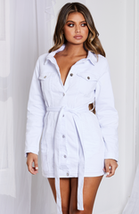 Kaiya Jacket Dress -  White Denim