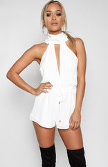 Kissed Cherry Playsuit - White