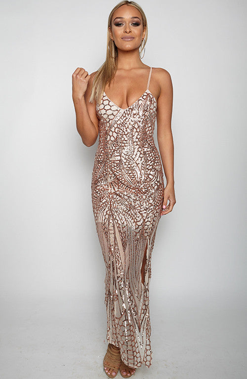 Venomous Touch Maxi Dress - Gold