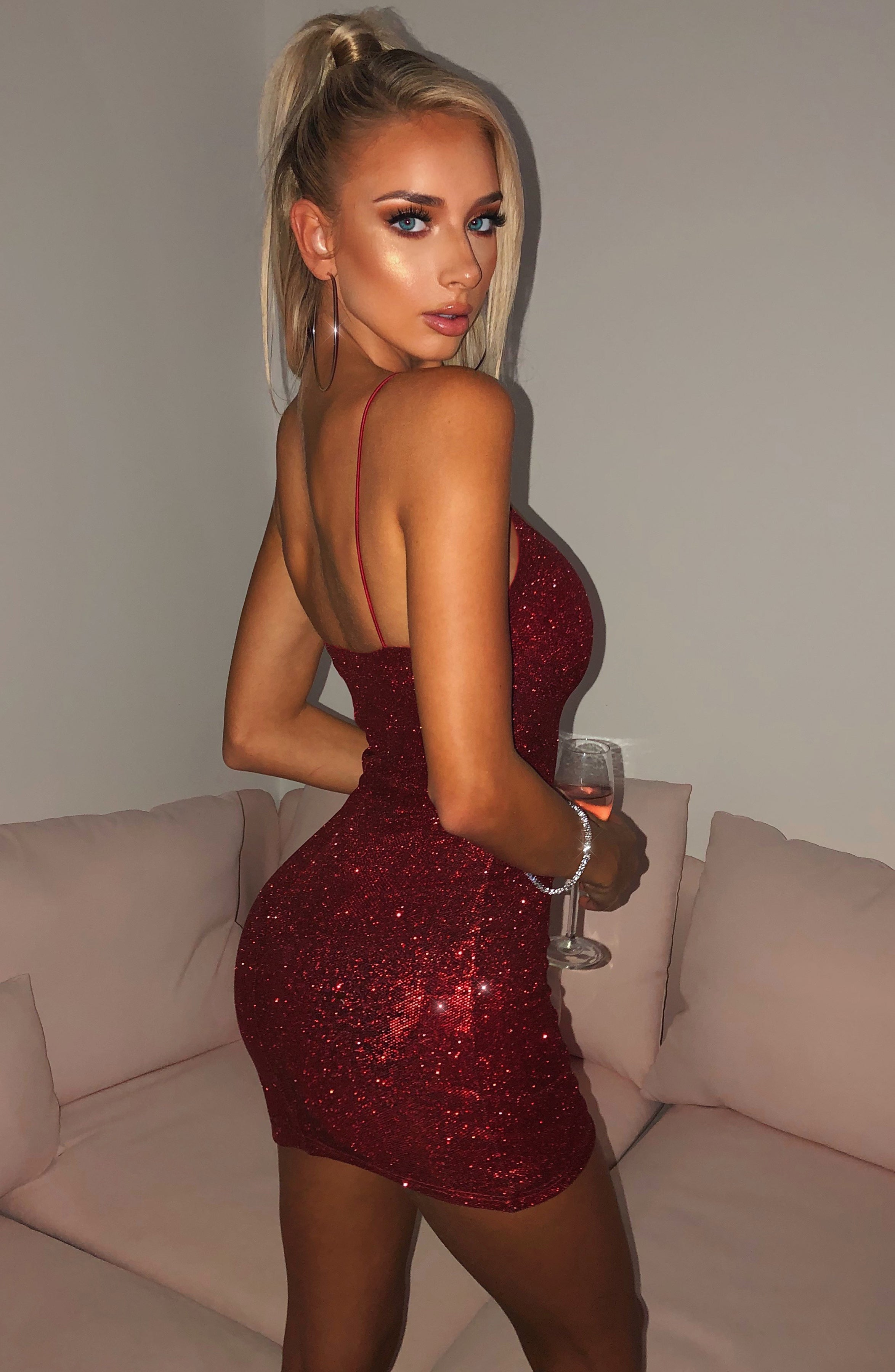 Mikayla Mini Dress - Red Glitter
