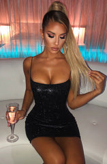 Mikayla Mini Dress - Black Glitter