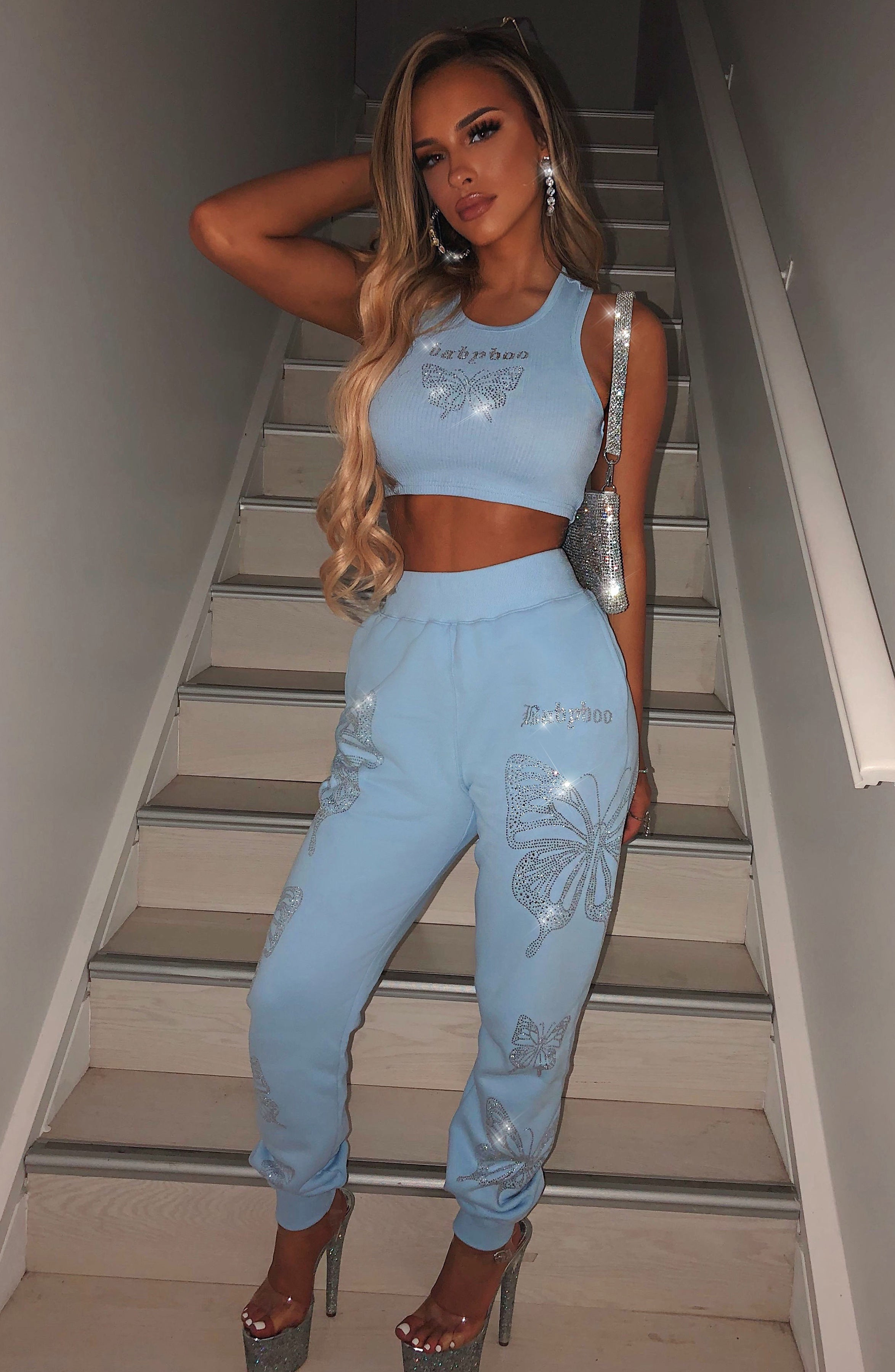 Sasha Diamante Crop - Blue
