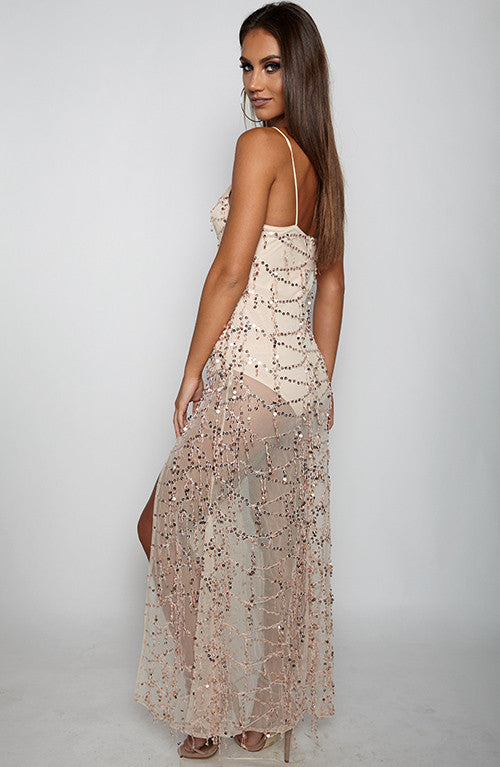 Ice Baby Maxi Dress - Gold
