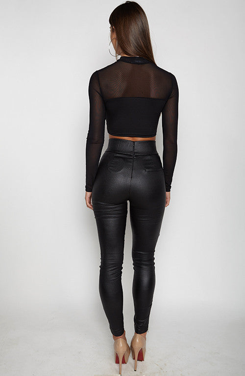 Mesh To It Top - Black