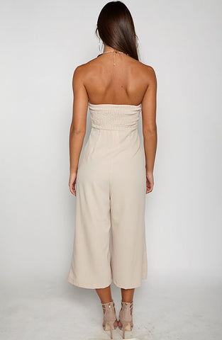 Trap Queen Jumpsuit - Beige