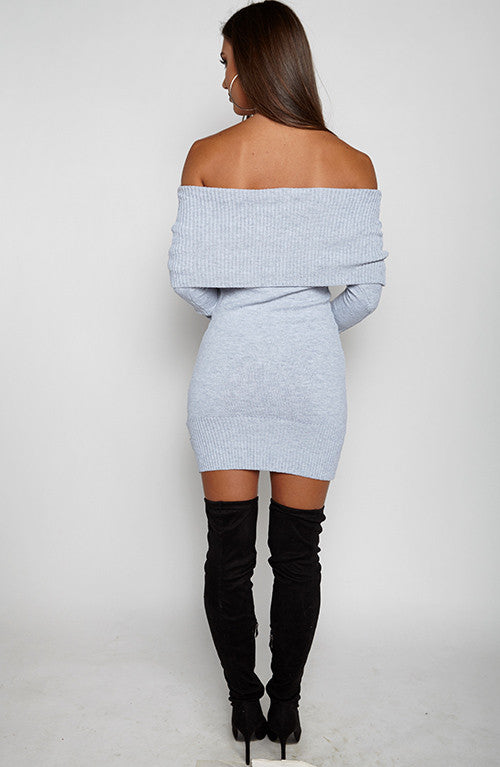Amber Knit Dress - Grey