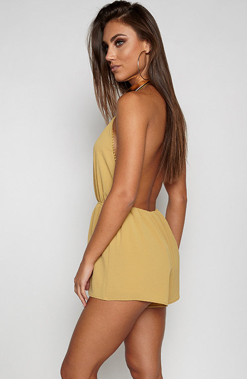 Over The Edge Playsuit - Mustard